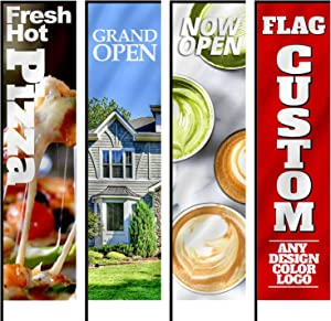 Anley Custom Rectangle Feather Flag 2.5 X 8 Ft Double Sided - Print Your Own Logo/Design/Words - Indoor & Outdoor Commercial Advertising Banners Flags (Flag ONLY)