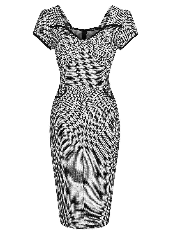 Miusol® Damen Kurzarm Sommer Schleife Cocktailkleid Hahnentritt 1950er Jahre Business Stretch Kleid Grau Größe 36-44