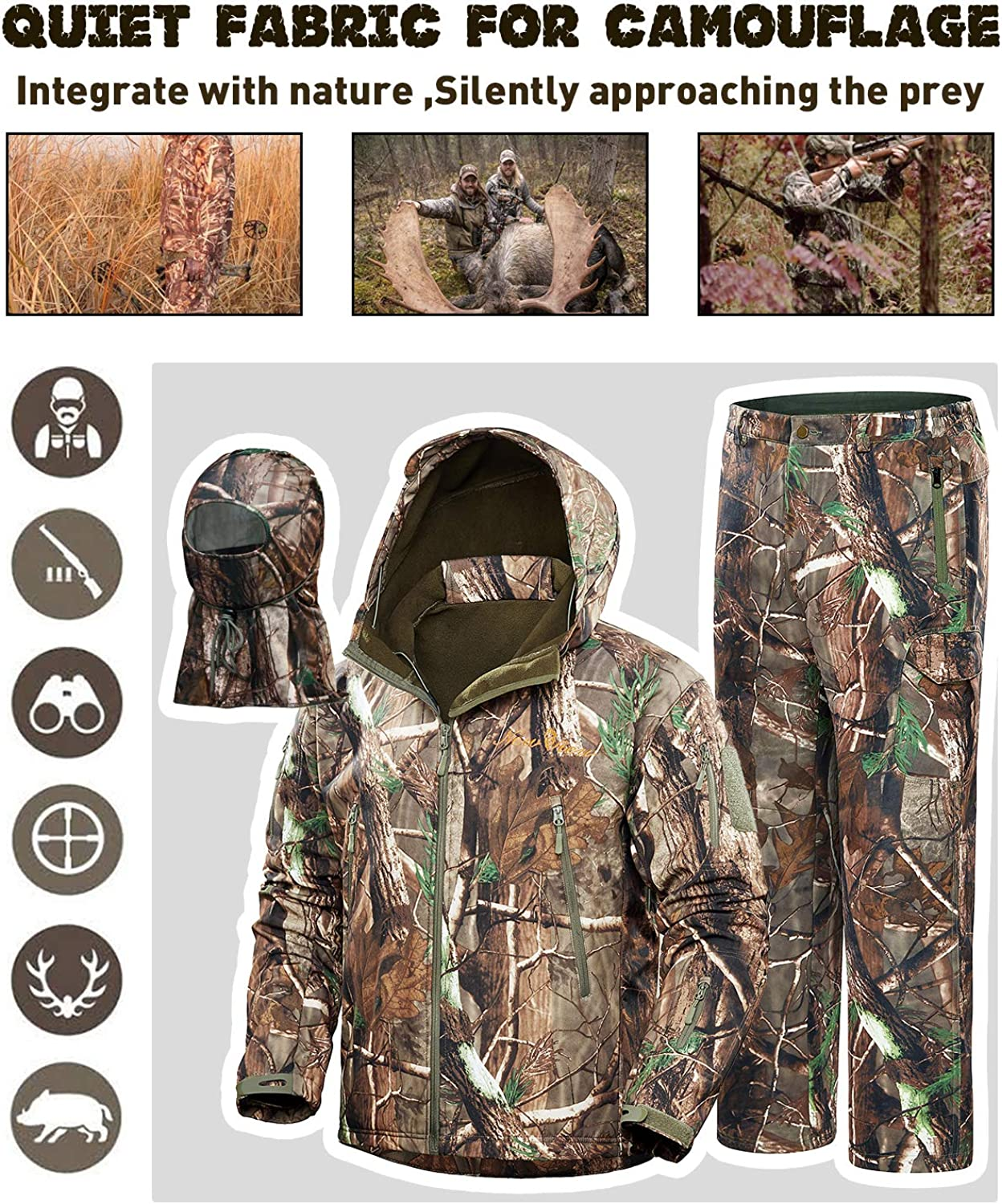 NEW VIEW 2020 Upgrade Hunting Clothes for Men, Silent Water Resistant Hunting Suits, Camo Hunting Camouflage Hooded Jacket, Hunting Pants : Clothing