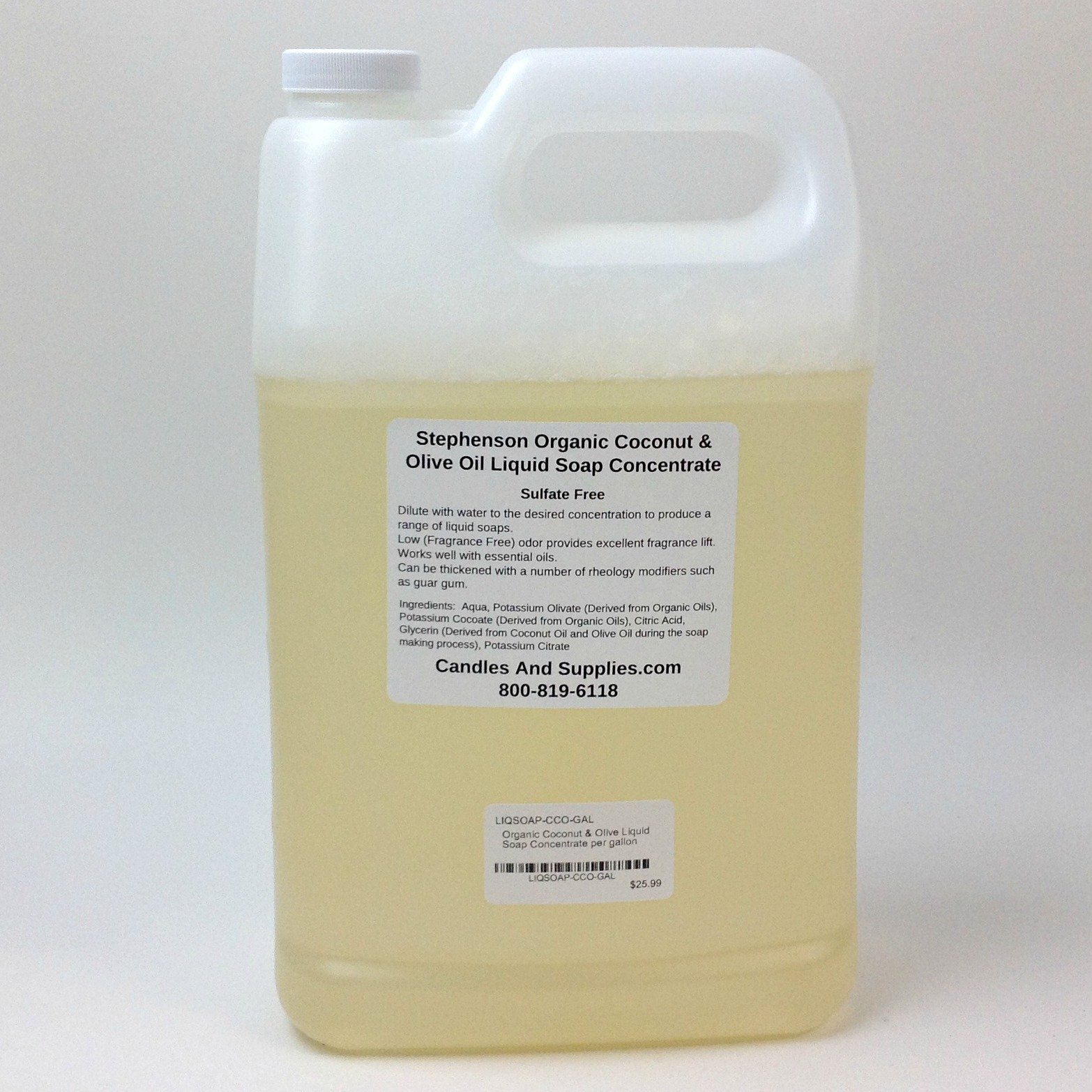 Pack of 1, 1 Gallon Organic Coconut & Olive Liquid Soap Concentrate, Sulfate Free for Soap Making