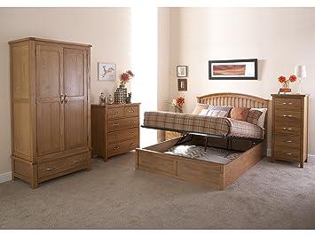 Right Deals UK Como Wooden Ottoman Storage Bed - Oak White - 4ft6 Double 5ft Kingsize & Right Deals UK Como Wooden Ottoman Storage Bed - Oak White - 4ft6 ...