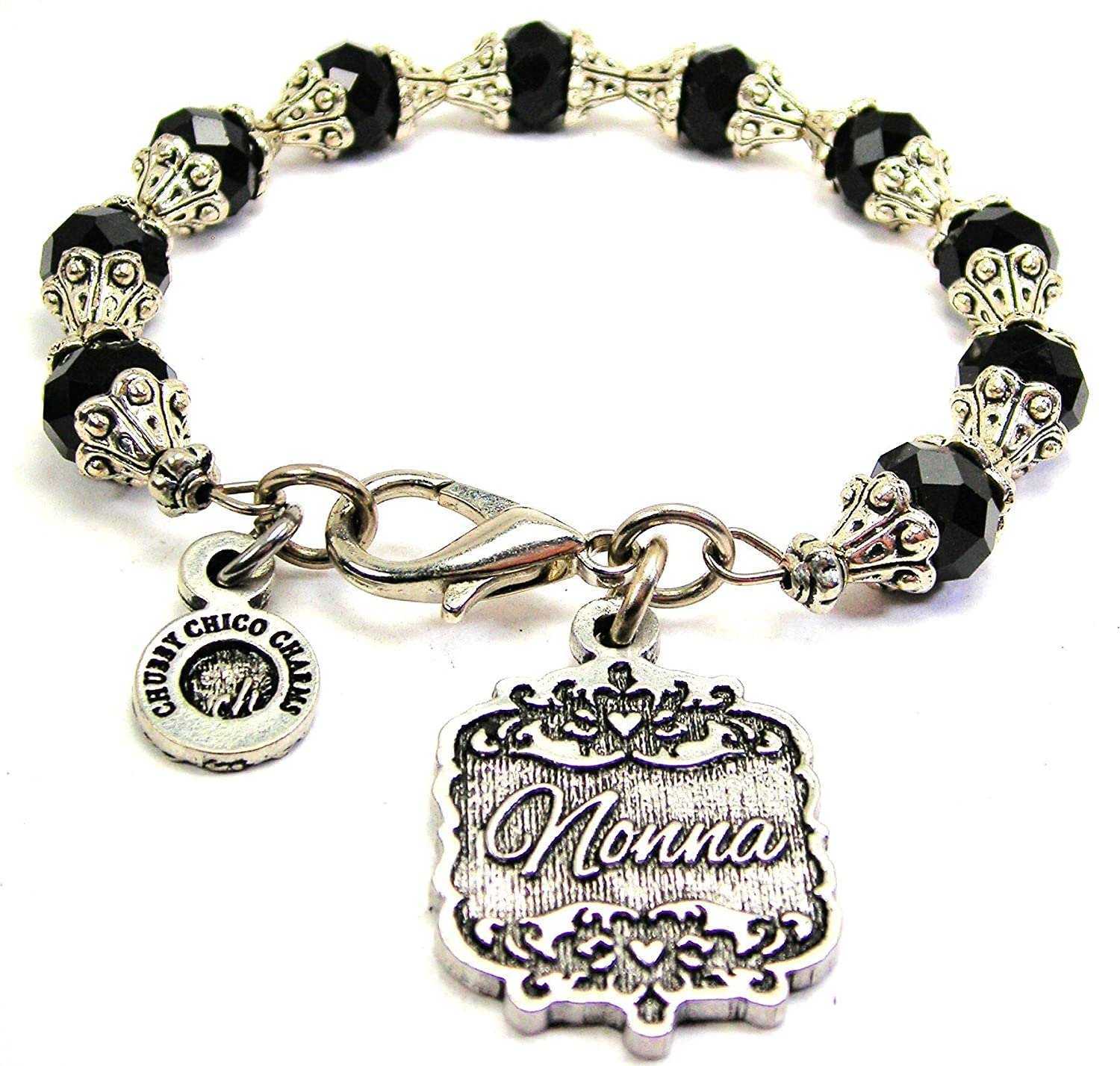 Chubby Chico Charms Nonna Victorian Scroll Capped Crystal Bracelet in Black