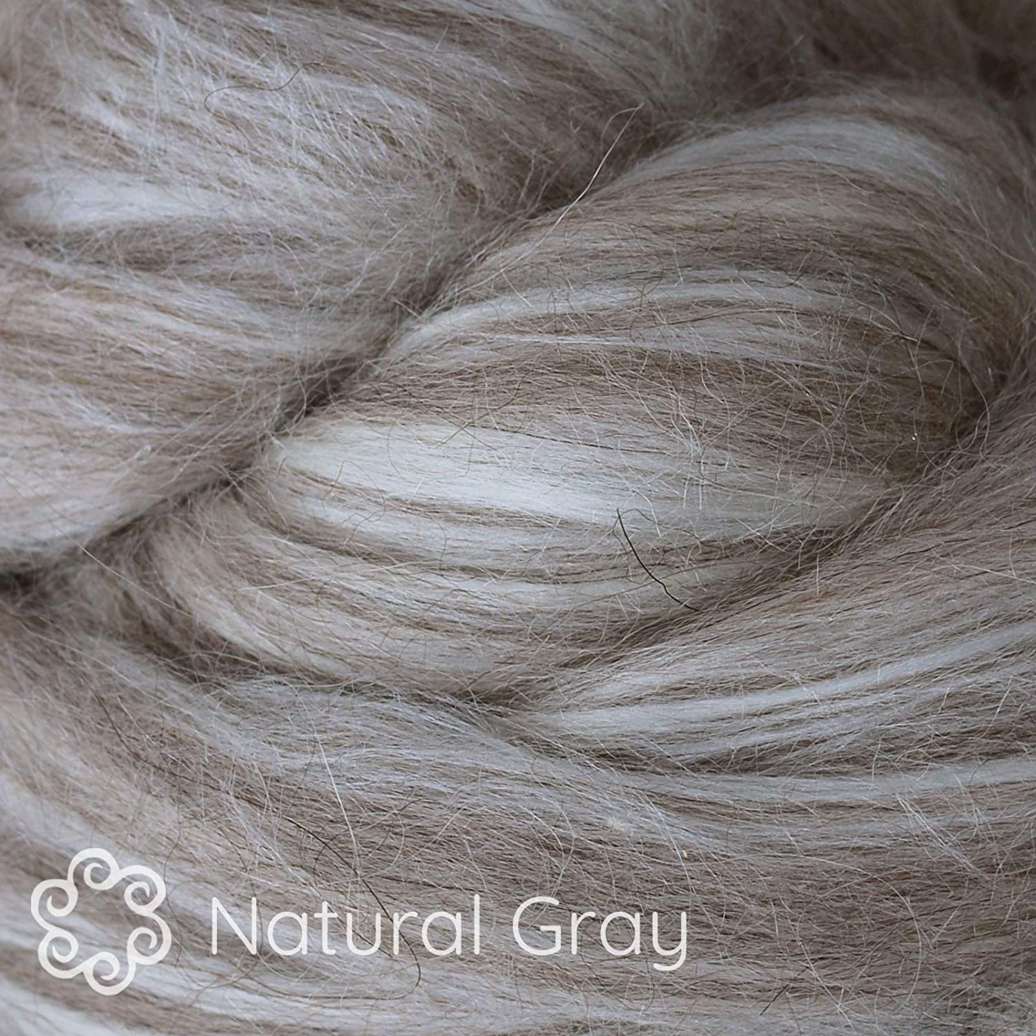 Natural Gray Felting Blending and Other Fiber Crafts Baby Alpaca Silk Fiber Blend Luxuriously Soft Combed Top Wool Roving for Spinning