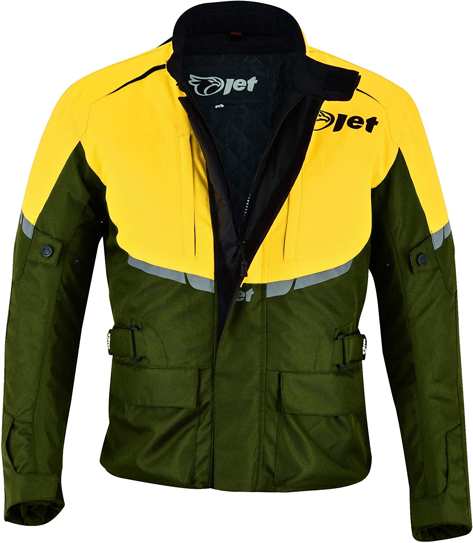 Jet Motorradjacke Für Herren Textil Wasserdicht Ce Panzerung Tourer Olivgelb S 91 4 Cm 96 5 Cm Bekleidung