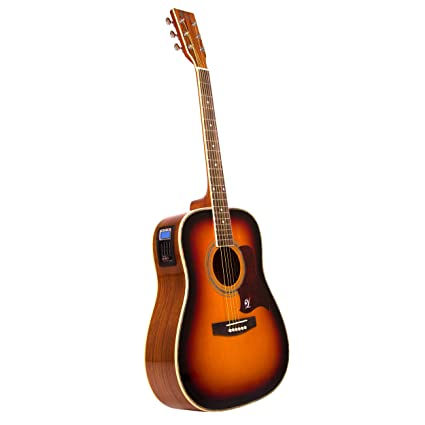 Lindo Guitars Sunburst - Guitarra electroacústica dreadnought (tapa de abeto, afinador digital, salida