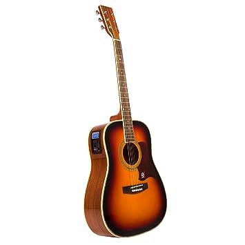 Lindo Guitars Sunburst - Guitarra electroacústica dreadnought (tapa de abeto, afinador digital, salida de XLR y jack, con funda), color naranja y negro: ...