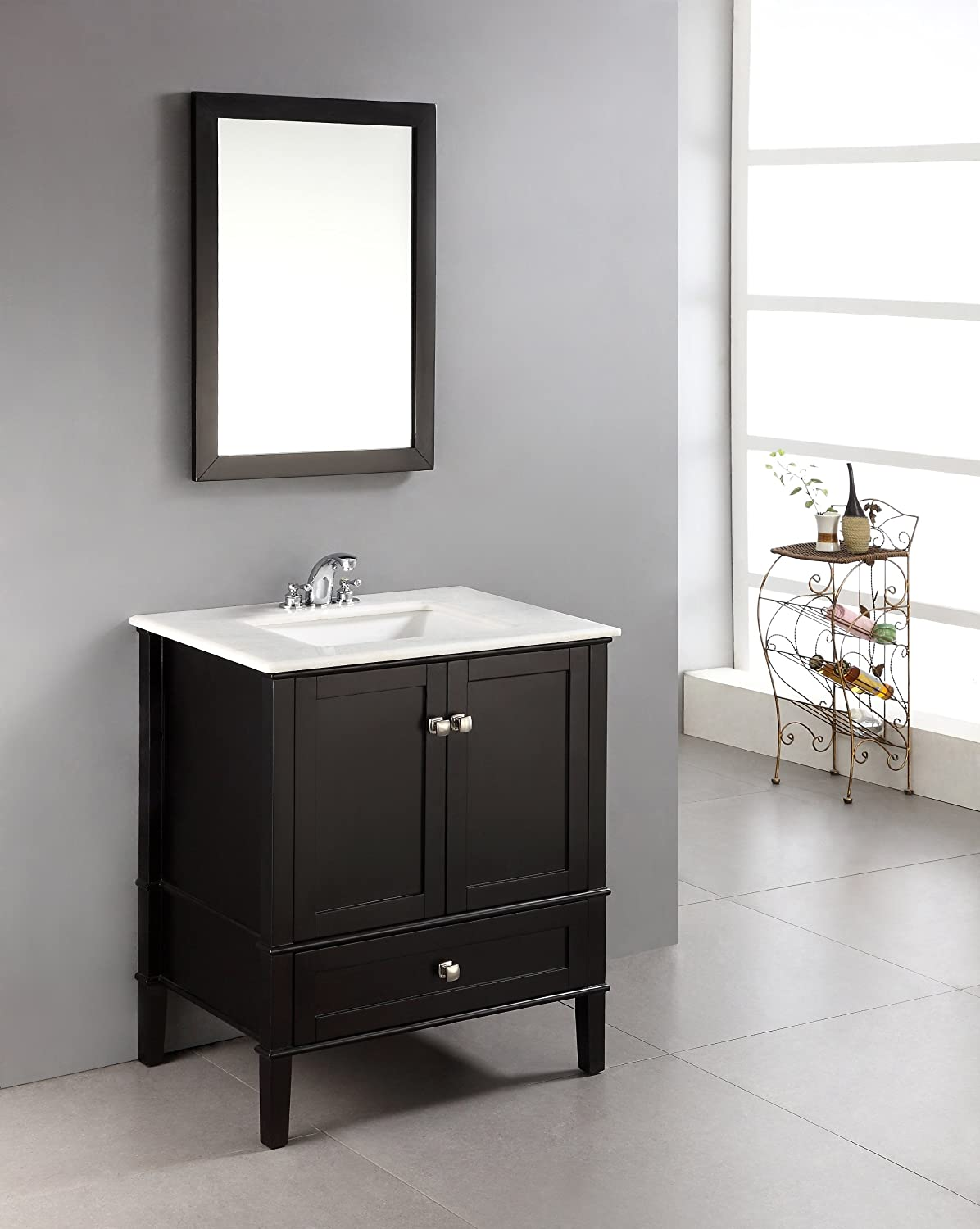 Simpli Home Chelsea 30 Bath Vanity with White Quartz Marble Top