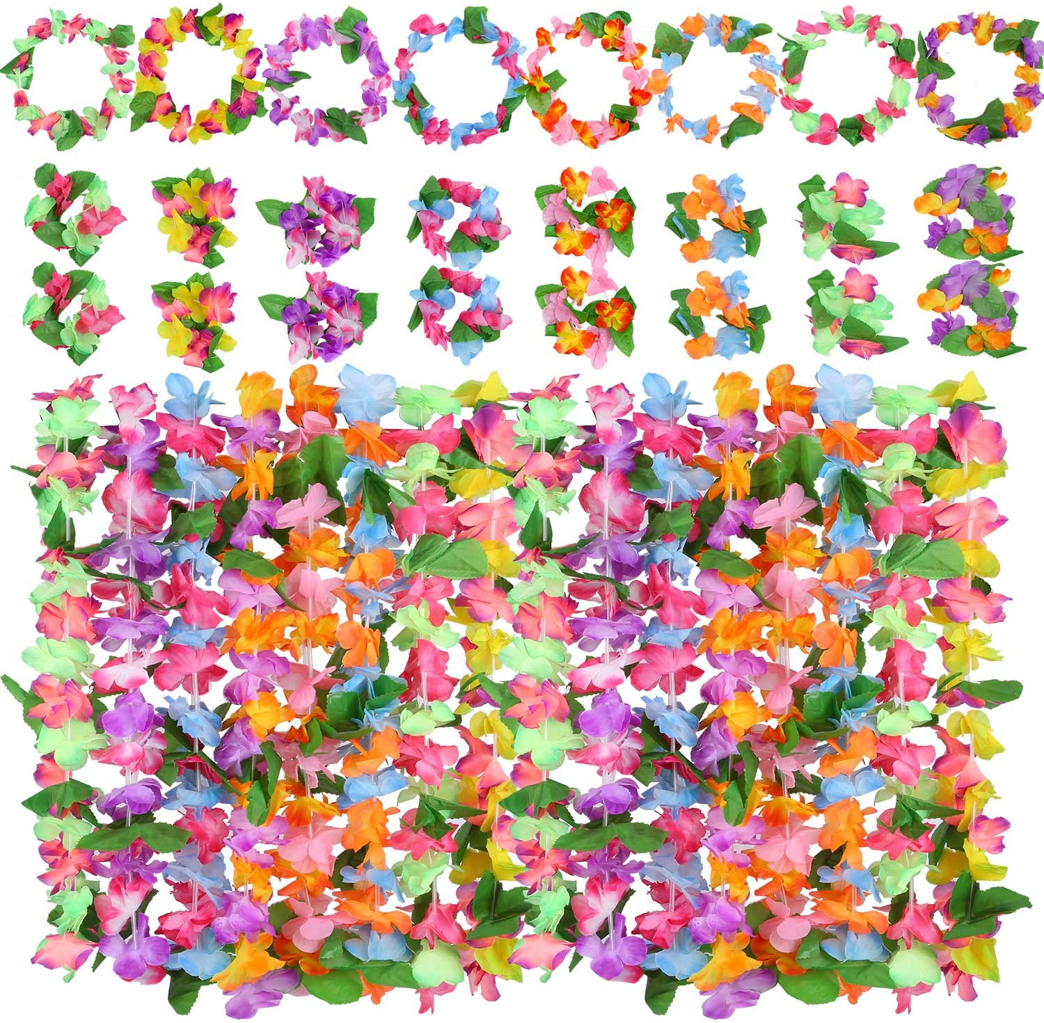 Cooraby 32 Pieces Hawaiian Leis Tropical Hawaiian Garlands with 16 Bracelets 8 Headbands and 8 Necklaces for Luau Party Supplies