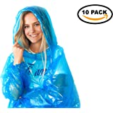 Emergency Disposable Rain Ponchos - 10 Pack of Assorted Colors - Poncho with Drawstring Hood & Elastic Sleeve Ends - Plastic Rain Coat for Family Women Men Adults Teens & Kids