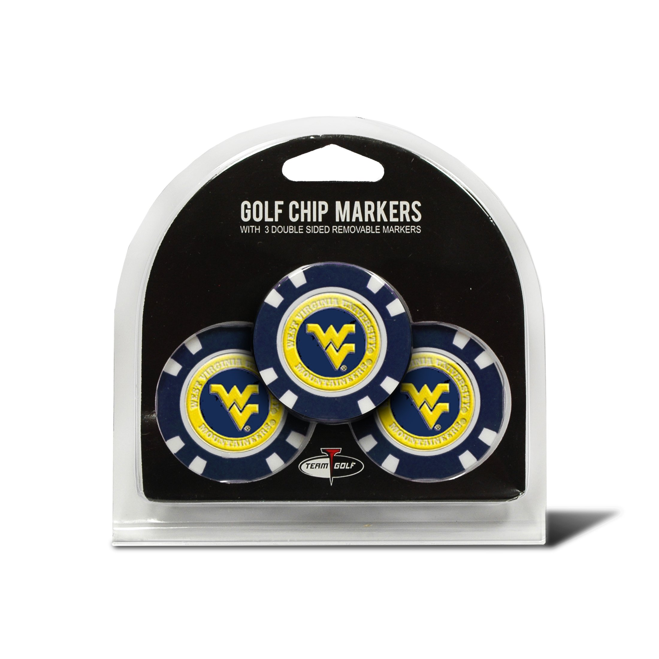 Team Golf NCAA West Virginia Mountaineers Golf Chip Ball Markers (3 Count), Poker Chip Size with Pop Out Smaller Double-Sided Enamel Markers by TEAM GOLF
