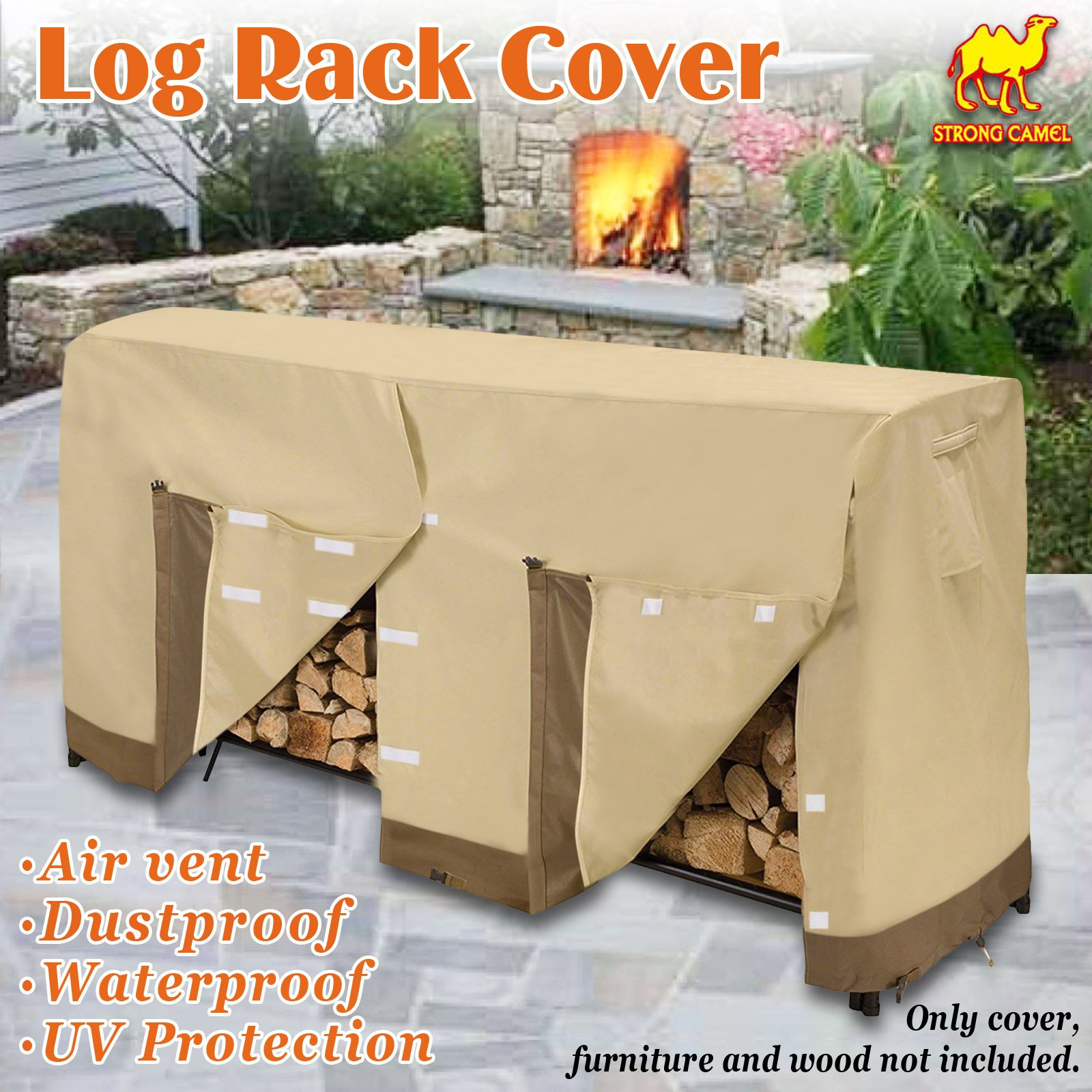 Strong Camel Premium Large Size Log Rack Cover Firewood Rack Waterproof Wood Storage Holder Cover ( Size 8.5' L x 2.1' x 3.5' H)