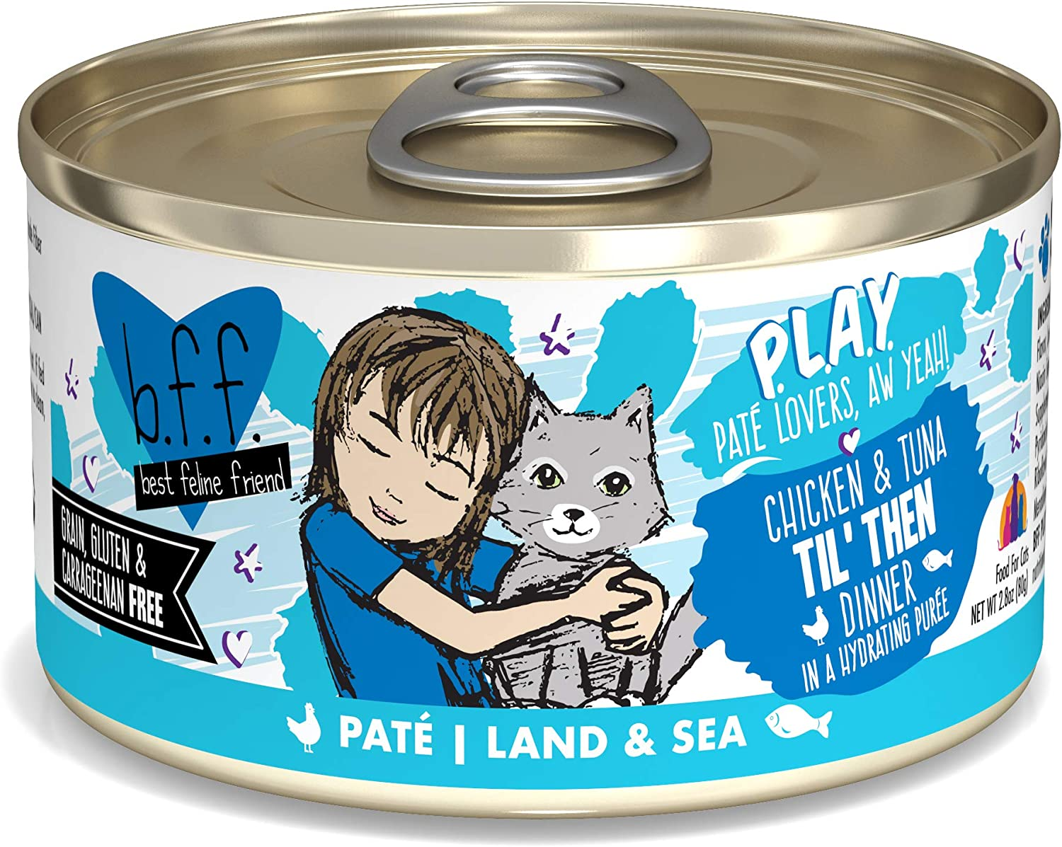 B.F.F. Play - Best Feline Friend Pate Lovers aw Yeah! Grain-Free Natural Wet Cat Food Cans, Land & Sea Pate Recipes
