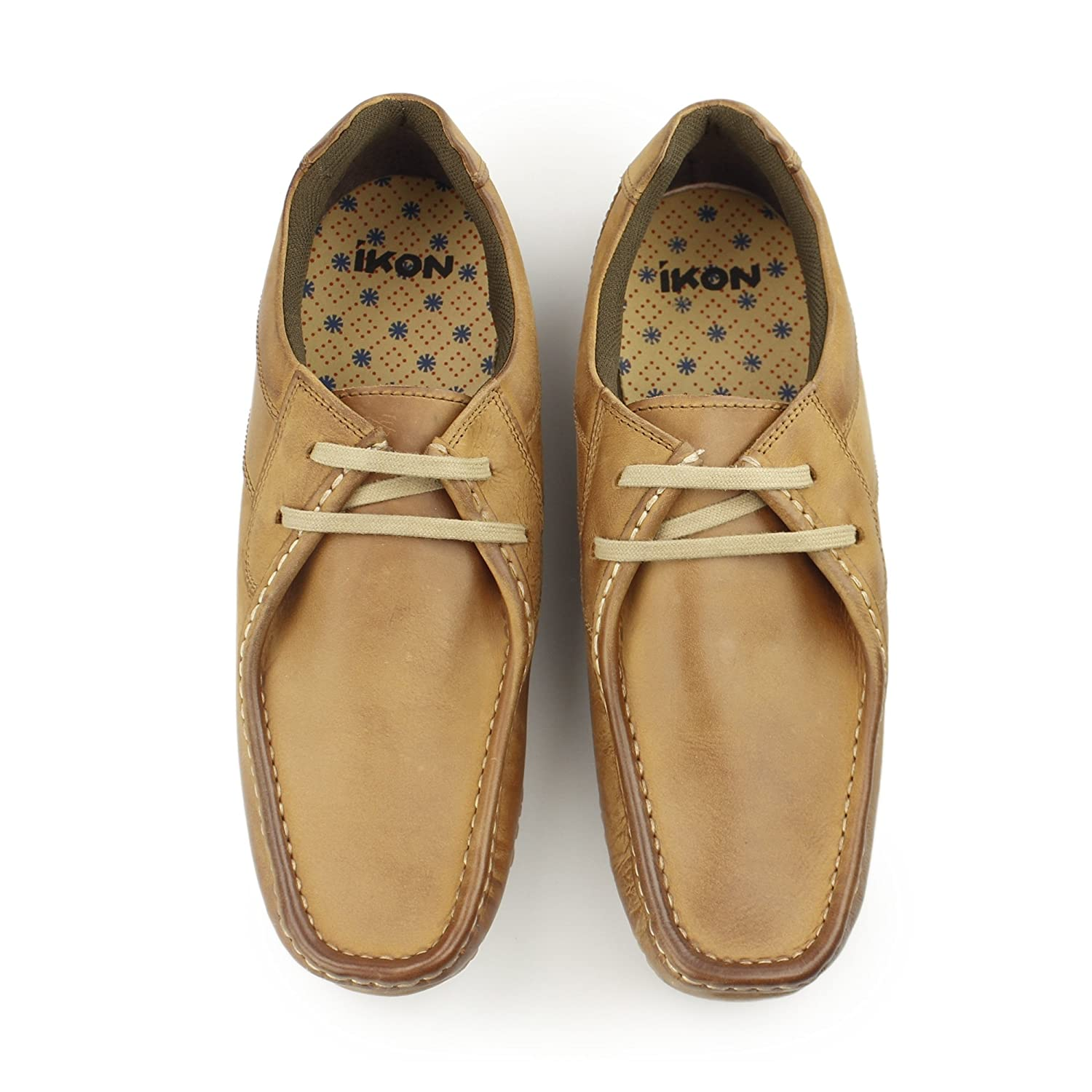 Ikon TIDE Mens Leather Lace Up Moccasin Shoes Tan: Amazon.co.uk: Shoes &  Bags