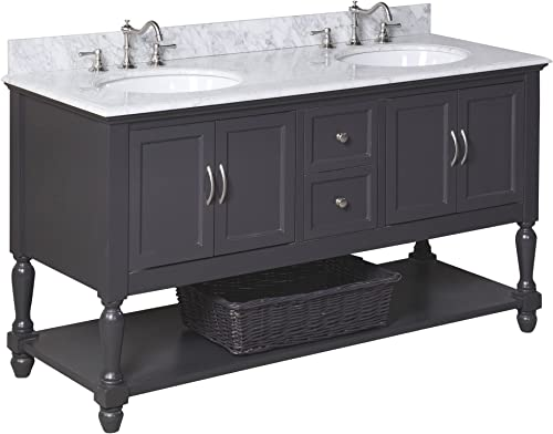 Beverly 60-inch Double Bathroom Vanity Carrara/Charcoal Gray : Includes Charcoal Gray Cabinet