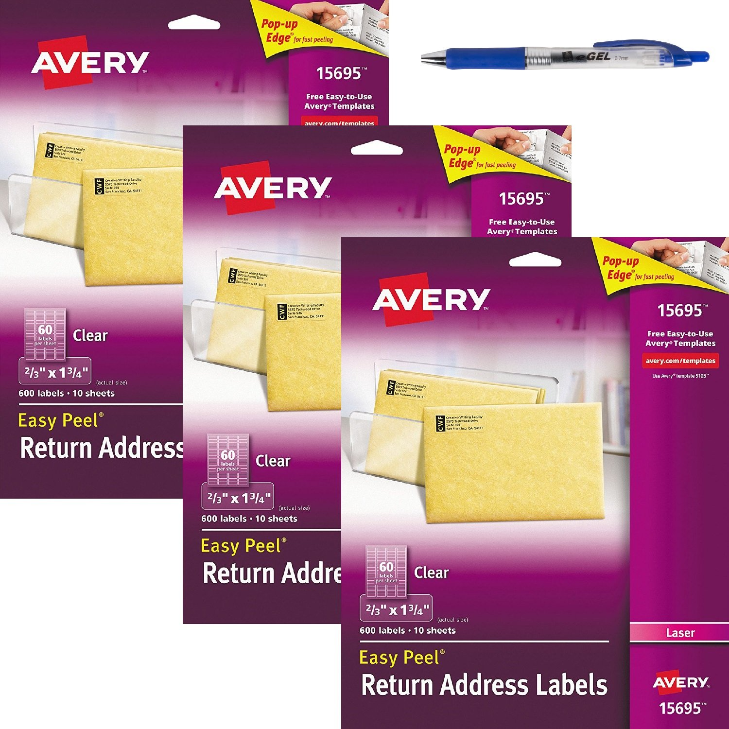 Amazon Avery Clear Easy Peel Return Address Labels For Laser