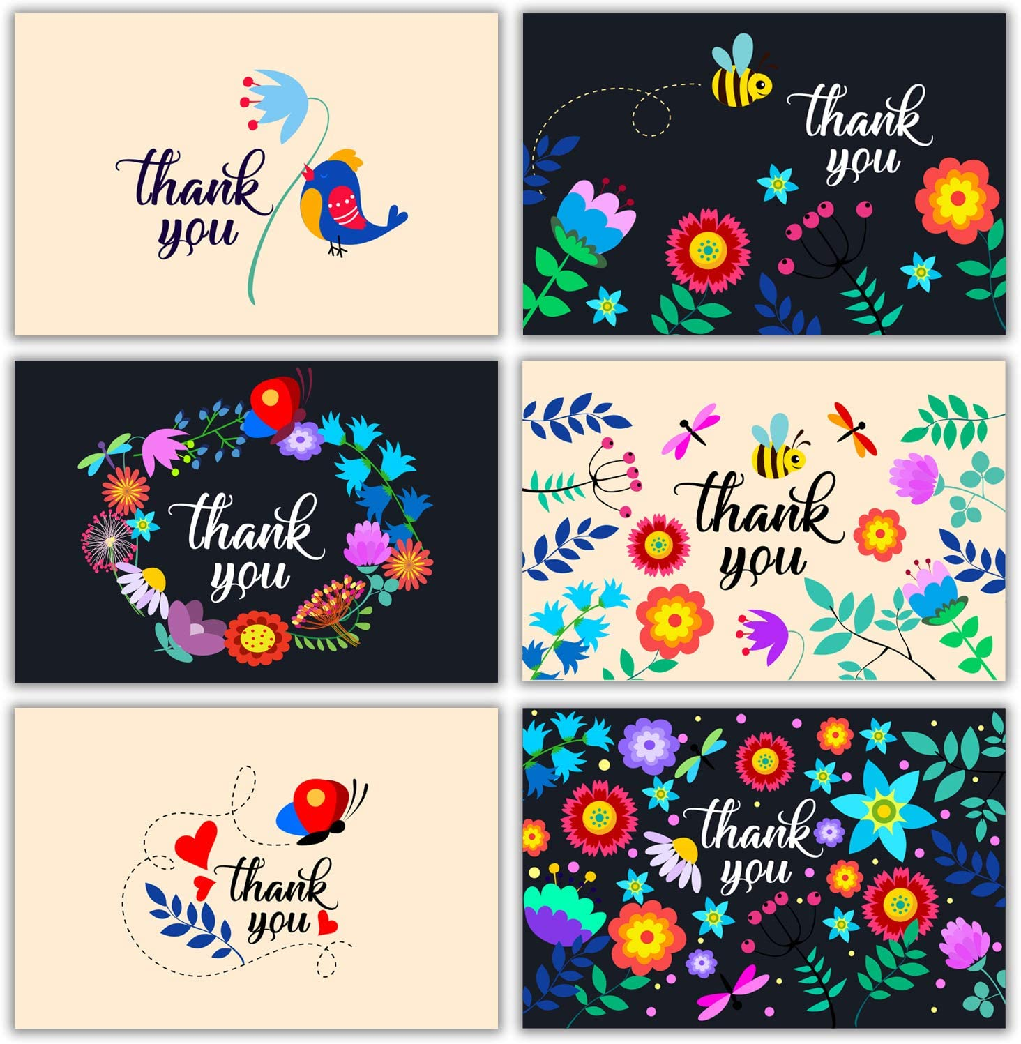 Floral Thank You Cards Bulk 36 Thank You Notes w/Stickers & White Envelopes – 4x6 Blank Note Cards – Perfect for Weddings, Bridal Showers, Graduation, and Baby Showers