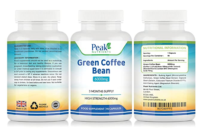 Extracto de Grano de Café Verde, 90 Cápsulas de 6000 mg (Suministro para 3 meses), Alta Concentración Para Máximos Resultados, Suplemento para el Control de ...