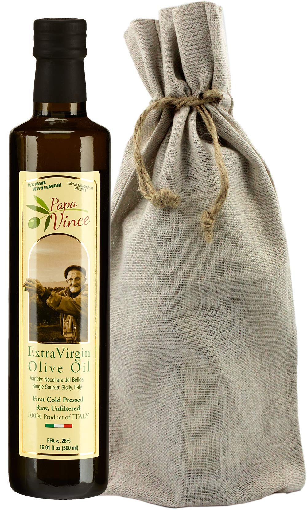 Papa Vince Olive Oil Gift - Extra Virgin First Cold Pressed from our family in Sicily, Italy, Unblended, Unfiltered, Unrefined, Robust, Rich in Antioxidant   Burlap bag   16.9 fl oz by Papa Vince (Image #2)