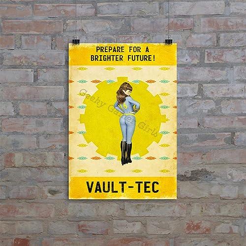 Amazon Com Vault Girl Print Fallout 76 Retro Print Grunge Print