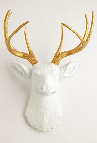 Amazon.com: White Faux Taxidermy The Alfred White Resin Deer ...