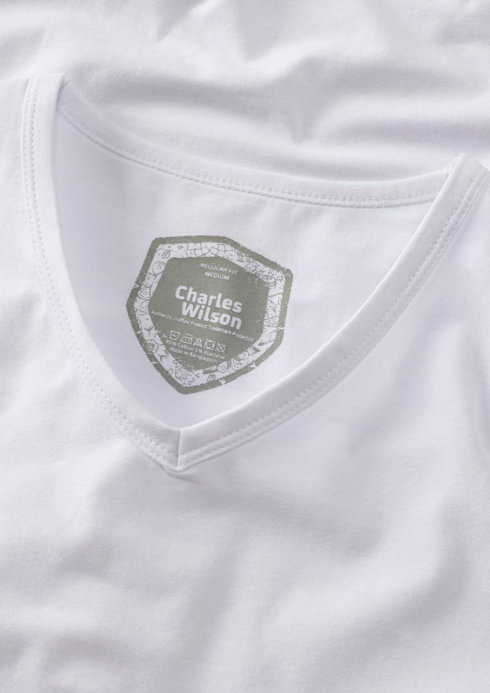 Charles Wilson 4 Pack Mens Comfort Stretch V-Neck T-Shirt
