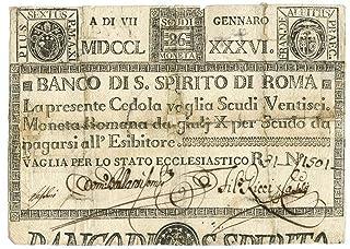 Cartamoneta.com 26 Scudi CEDOLA BANCO di Santo Spirito di Roma 07/01/1786 MB+