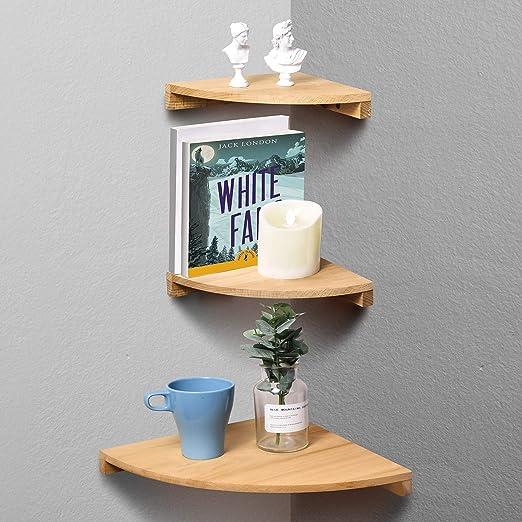 Floating Shelf Set Of 3 Natural Wood Corner Shelves Shelf Space-Saving