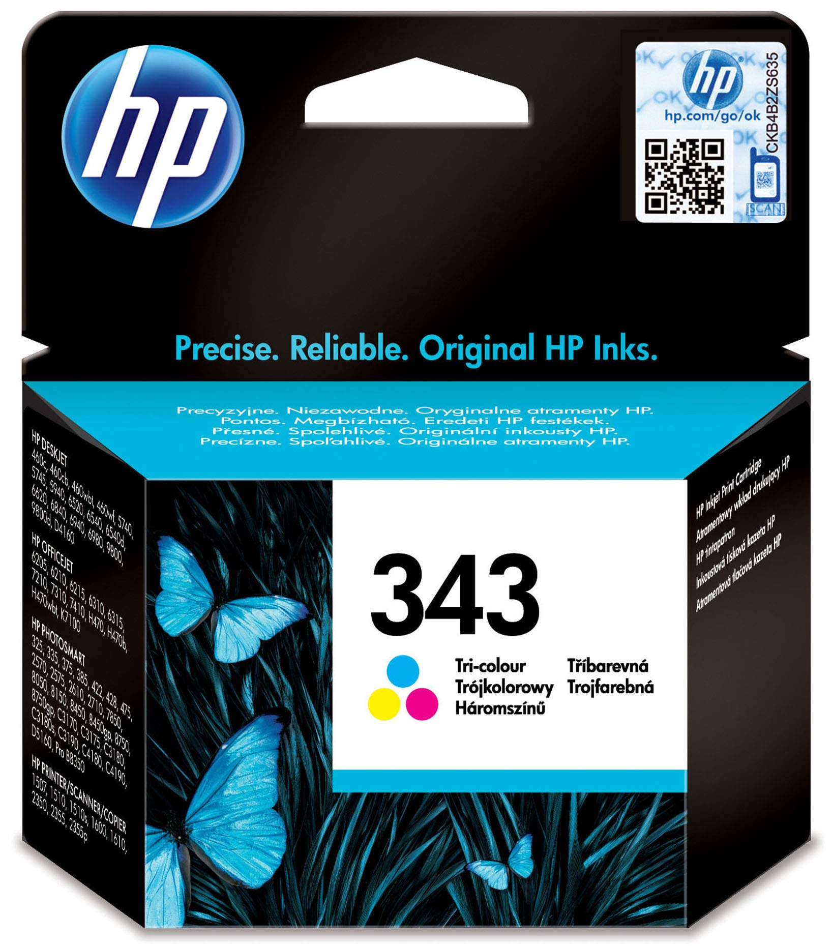 HP C8766EE 343 Original Ink Cartridge, Tri-color, Single Pack
