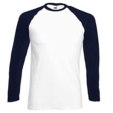2302702a New Fruit of the Loom Mens Long Sleeve Cotton Baseball T Shirt White/ Deep  Navy