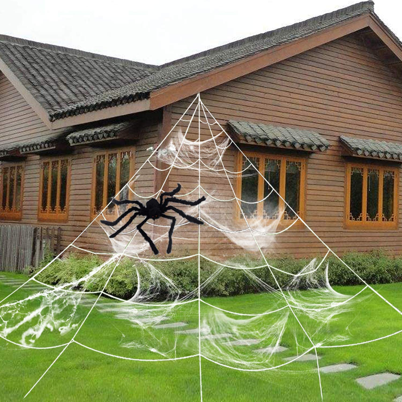 Halloween Spider Web Spider Decoration Triangular Mega Wed with Stretch Cobweb Set Outdoor Halloween Decorations Party Yard Decor