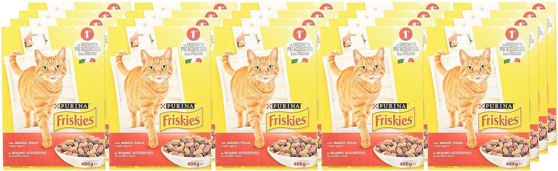 Friskies Adult pienso para el Gato, con Manzo, Pollo y Fegato aggiunto, 400 g - Paquete de 20 Unidades: Amazon.es: Productos para mascotas