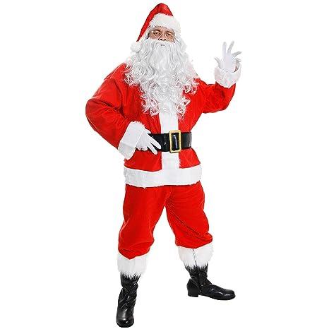 ILOVEFANCYDRESS Disfraz de Papá Noel para adulto (10 piezas), color rojo y blanco