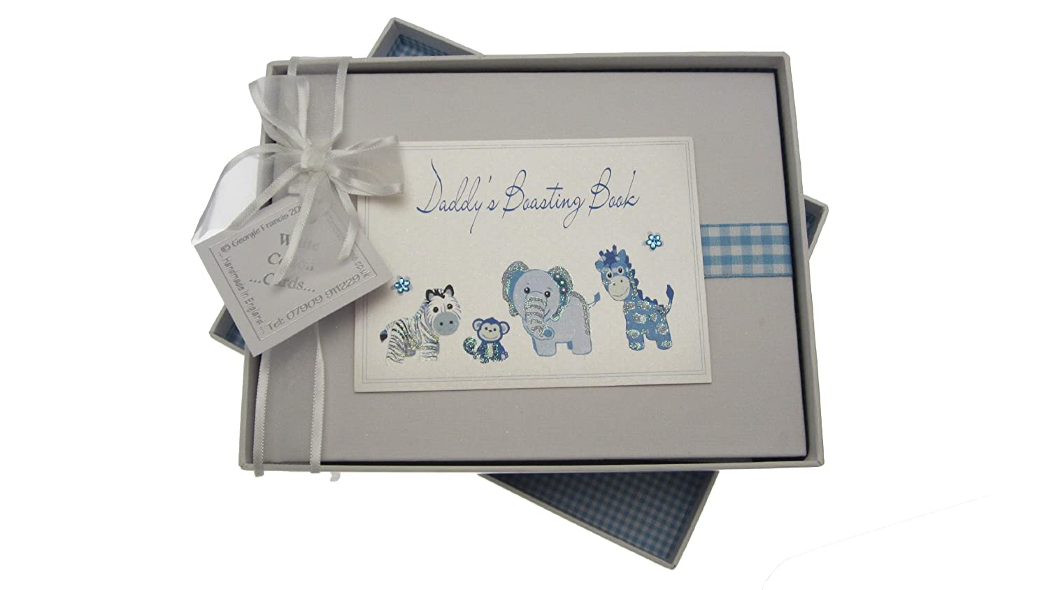 White Cotton Cards Daddy's Boasting Book Album photo Motif animaux Vichy Bleu DTB1S