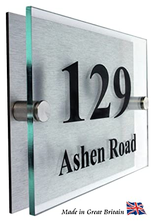 Premier Quality,Glass Look Acrylic Personalised House number Sign ...