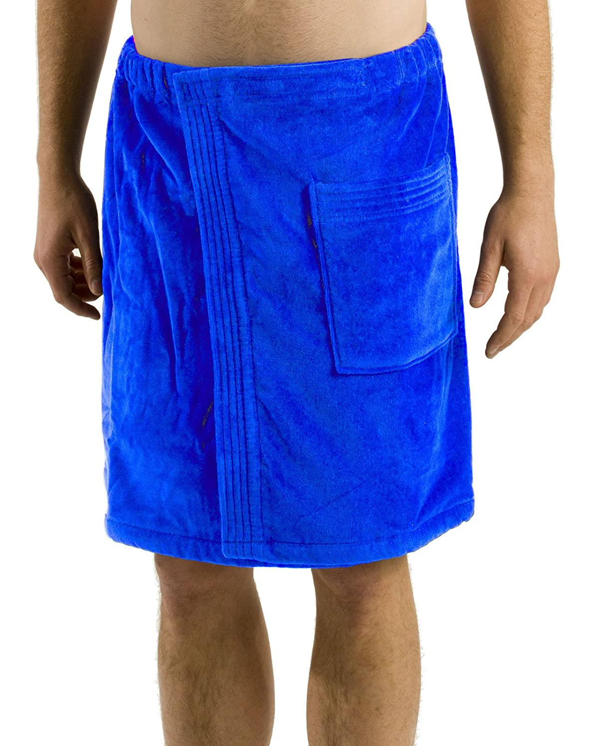robesale Bamboo Cotton Mens Spa Wrap, White, S/M