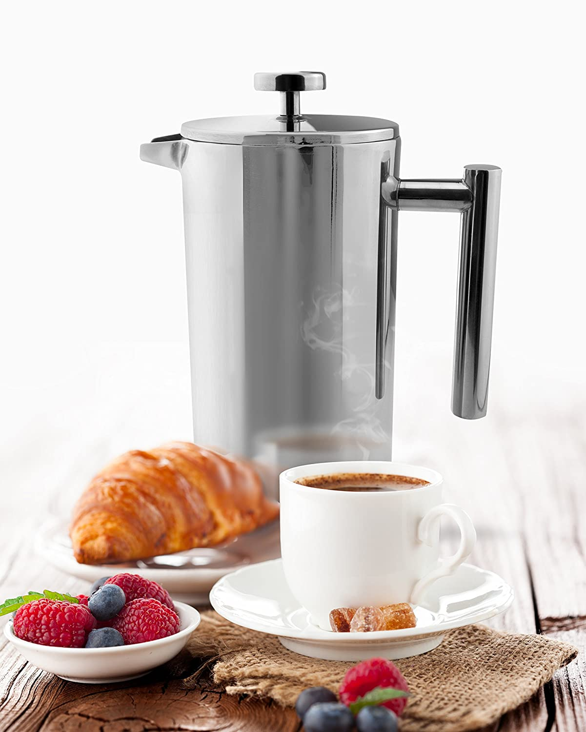 Grunwerg Cafe Ole Double Wall Insulated Straight 12 Cup// 51oz Stainless Steel Cafetiere Grunwerg UK CFD-12