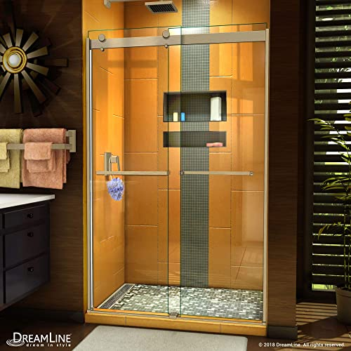DreamLine Sapphire 44-48 in. W x 76 in. H Semi-Frameless Bypass Shower Door in Brushed Nickel, SHDR-6348762-04