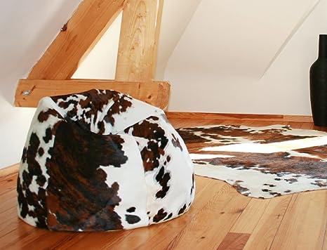Sofá puf Oscar piel de vaca Normande, Diamètre : 60 cm ...