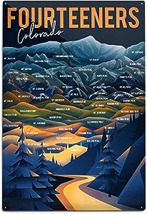 Colorado, Fourteeners, Mountain Range and Names 95240 (12x18 Aluminum Wall Sign, Metal Wall Decor Ready to Hang)