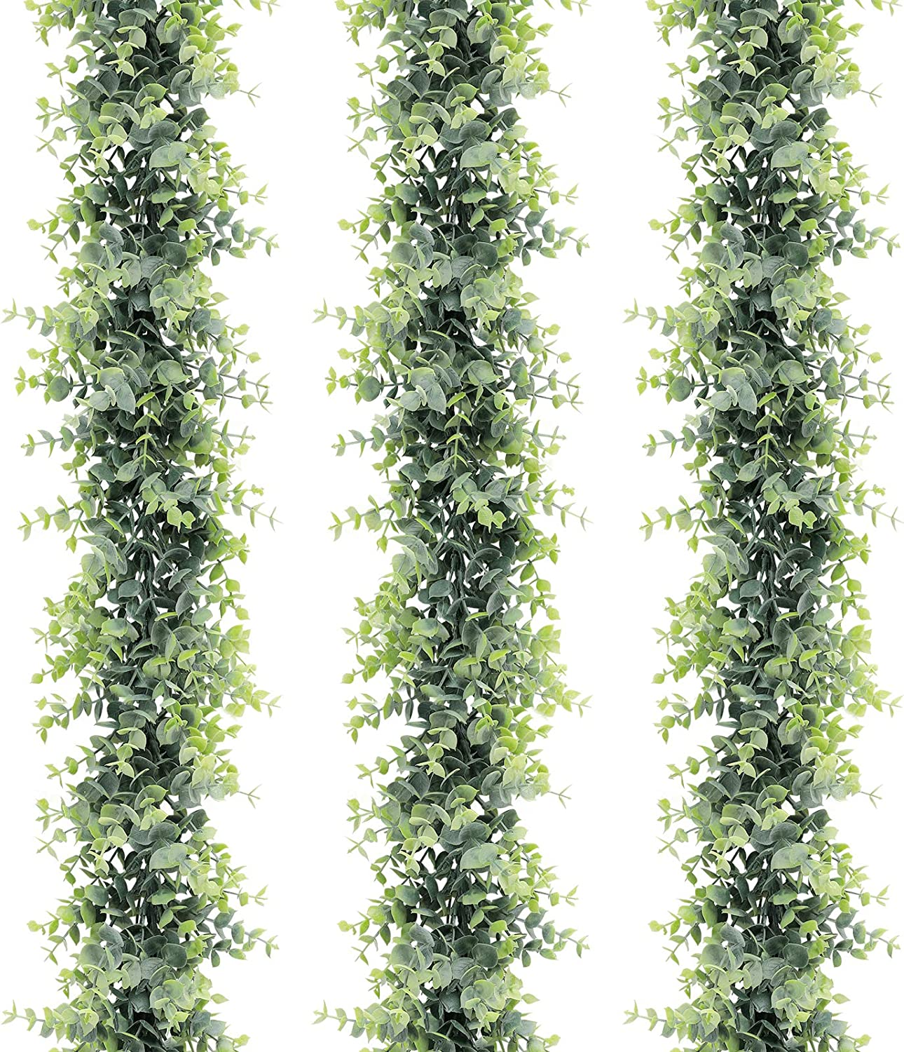 COCOBOO 3 Pack Artificial Eucalyptus Garland, Artificial Vines Faux Plant Eucalyptus Greenery Garland Wedding Arch Table Wall Mantle Spring Decor, 6 Feet/pcs Fake Boxwood Garland