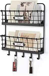 Takyl Home Metal Farmhouse Wall-Mounted 2-Tier Letter Organizer & Mail Sorter with 5 Hooks for Keys & Leashes, Office Command Center & Accessory Holder, Black