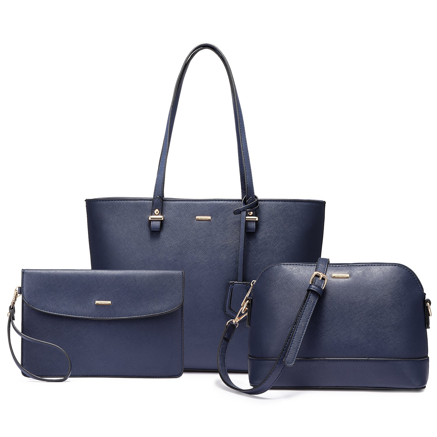 Handbags for Women Shoulder Bags Tote Satchel Hobo 3pcs Purse Set Navy