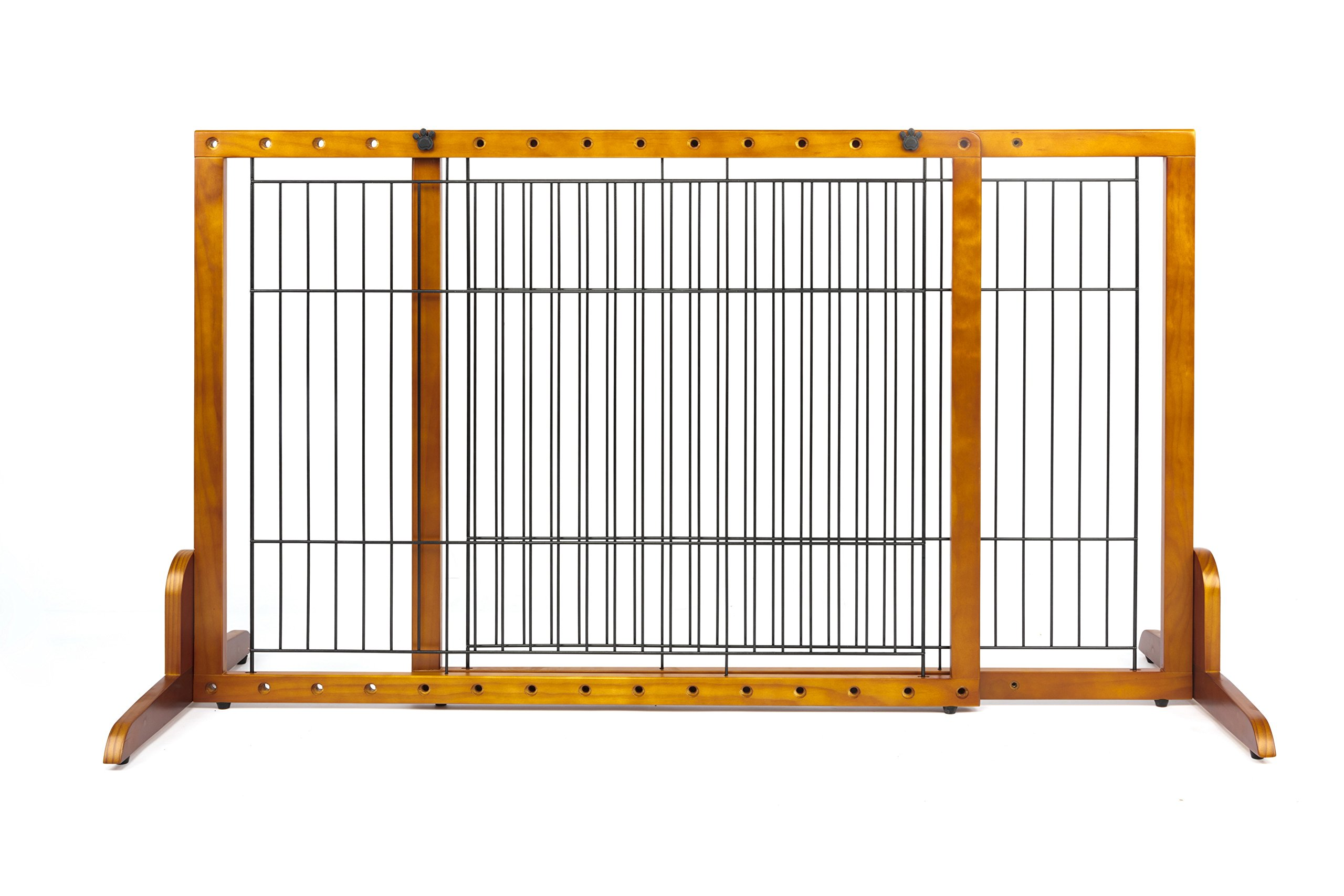Simply Plus Wooden Pet Gate No Door, Freestanding Pet Dog Gate, For Indoor Home & Office Use. Keeps Pets Safe . Easy Set Up, No Tools Required