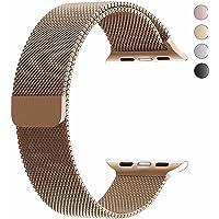 top4cus Apple Watch Pulsera, Electrochapeado Doble Milanese Aro Reemplazo de Acero Inoxidable iWatch Pulsera con Cierre magnético para Apple Watch