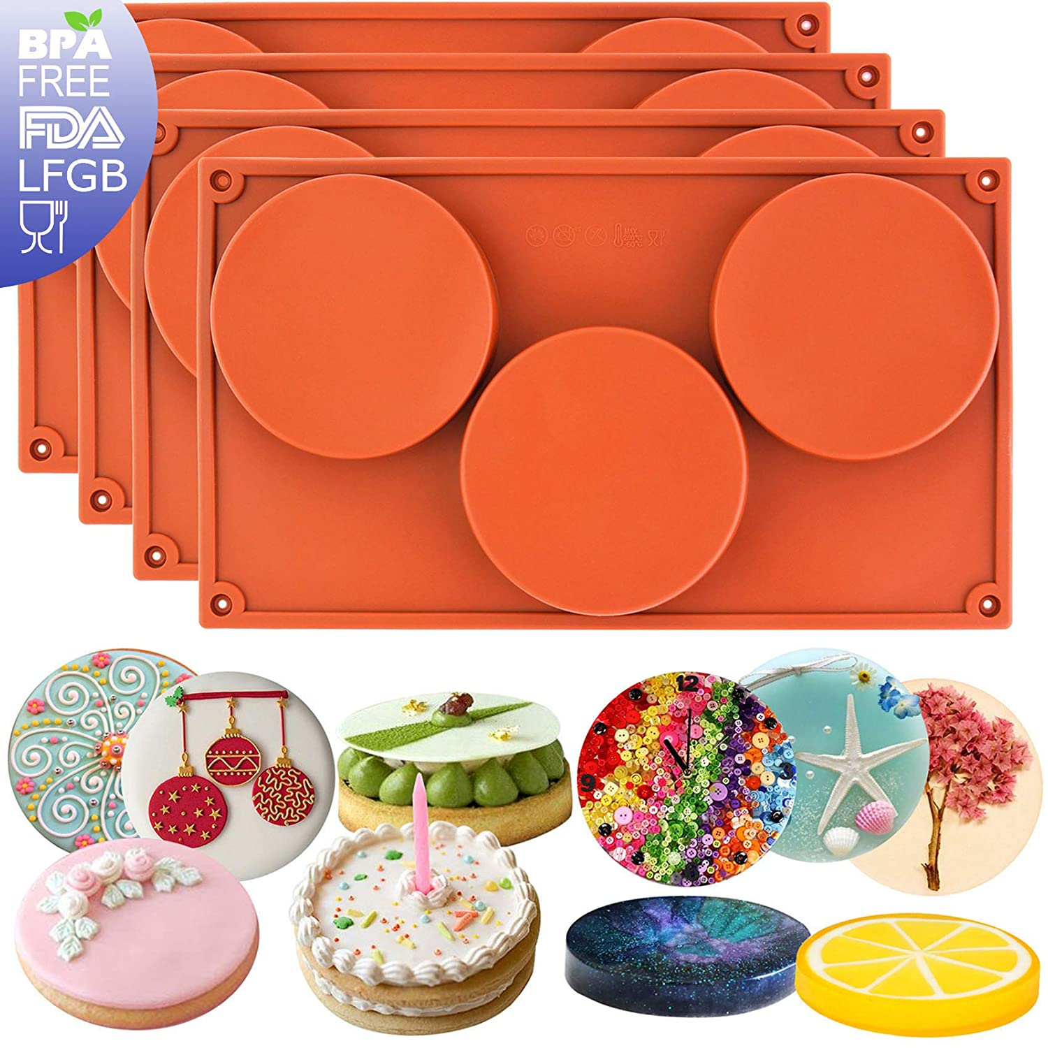 musykrafties 3-Cavity Large Round Disc Candy Silicone Moulds Teacake Pastry Bakeware for Baking, Polymer Clay, Soap Making, Epoxy Resin, Jewelry Making, Crafting Projects 2 in Set