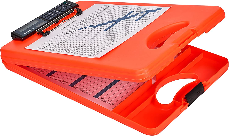Plastica Apertura Inferiore Saunders 53402/DESKMATE II Safety con calcolatrice Portablocco su modulo laser con manico unterteiltes scomparto interno per DIN A4 segnale colore arancione fluo
