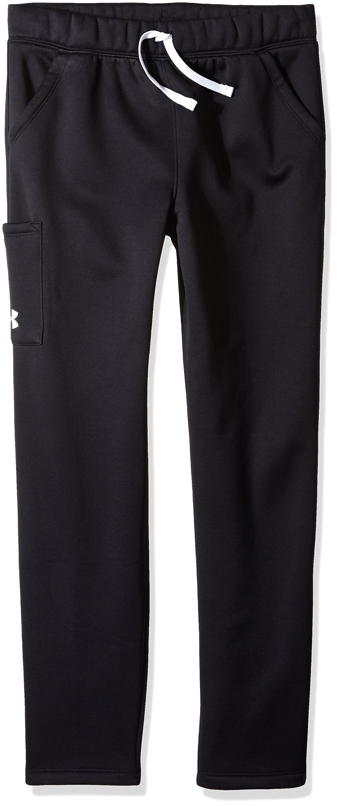 Under Armour Girls' Armour Fleece Pants,Black (001)/White, Youth X-Small by Under Armour
