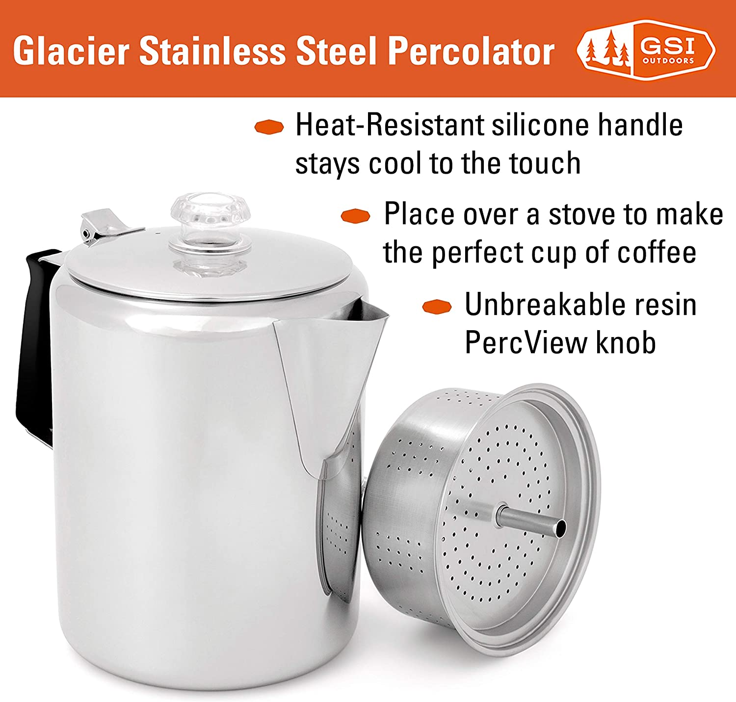 GSI Outdoors Glacier Stainless Steel Percolator Coffee Pot with Silicone Handle for Camping and Backpacking | For Individuals and Groups