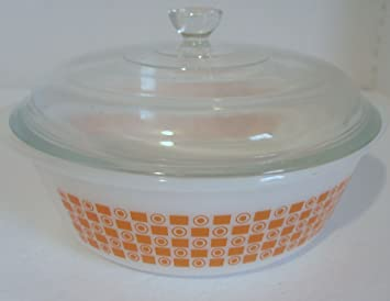 Amazon.com : Vintage 2 QT Glasbake Casserole Orange Circle Square ...