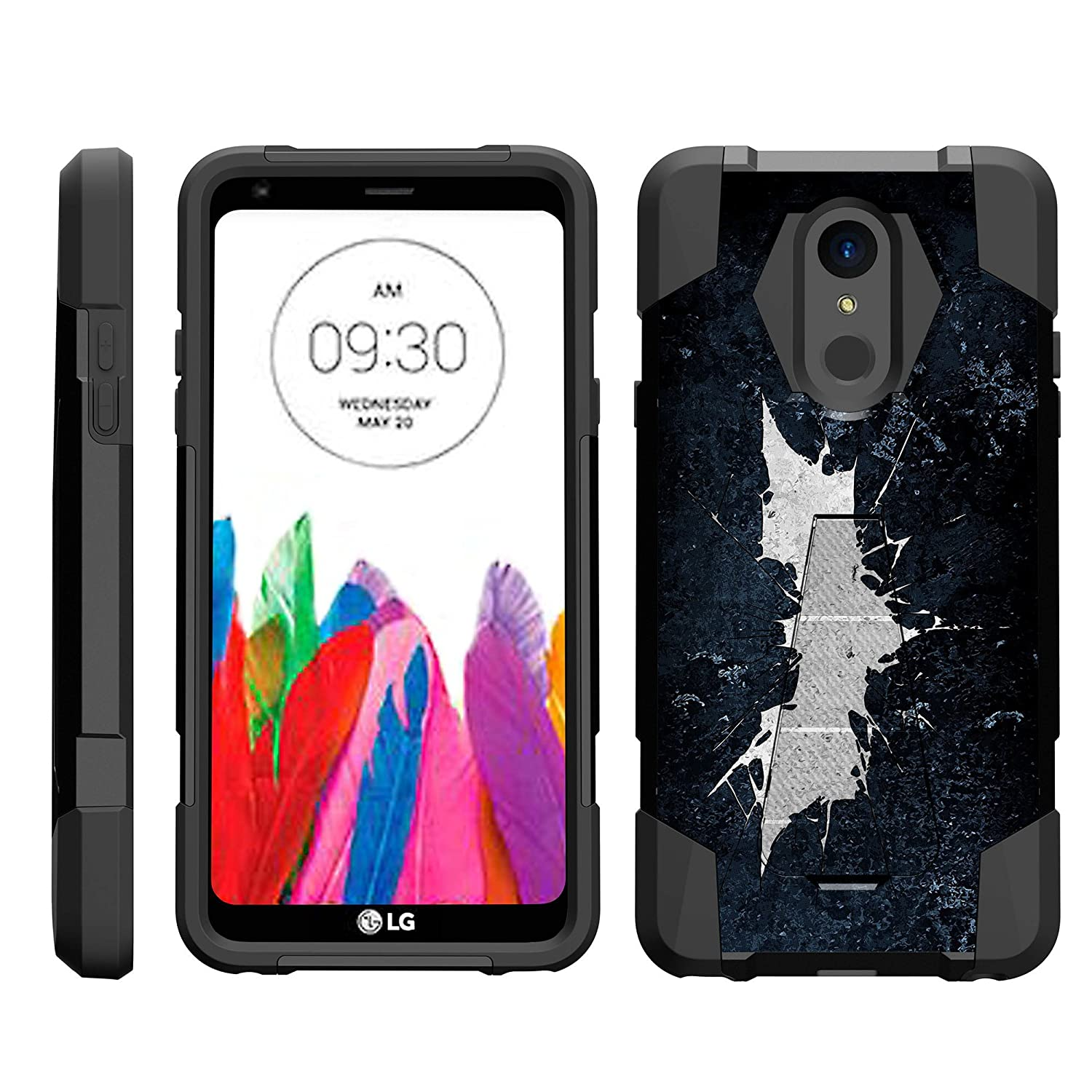 TurtleArmor | Compatible with LG Stylo 4 Case | Q Stylus Case | Stylo 4 Plus Case [Dynamic Shell] Hybrid Dual Layer Hard Shell Kickstand Silicone Case - Bat Signal